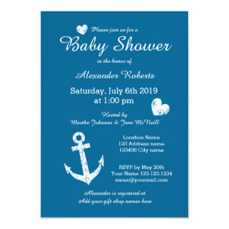 Nautical theme baby shower invitations with anchor