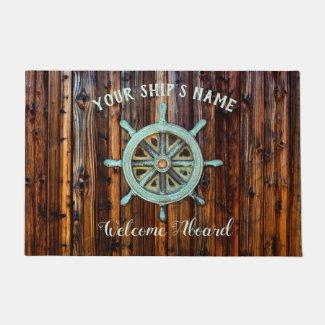 Nautical Theme Bronze Captains Wheel Doormat