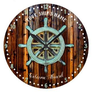 Nautical Theme Bronze Captains Wheel Large Clock