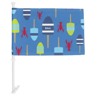 Nautical Theme Buoy and Lobster Monogrammed Car Flag