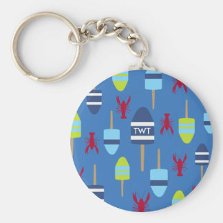 Nautical Theme Buoy and lobster monogrammed Key Ring