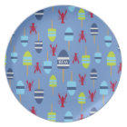 Nautical Theme Buoy and lobster monogrammed Plate