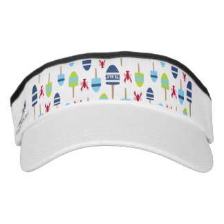Nautical Theme Buoy and lobster monogrammed Visor