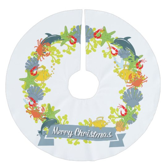 Nautical Theme Christmas Wreath Tree Skirt