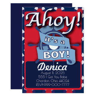 Nautical theme It's a Boy Invitation Baby Shower!