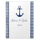 Nautical Theme Navy Blue White Stripes Guest Book
