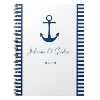 Nautical Theme Navy Blue White Stripes Guest Book Note Book