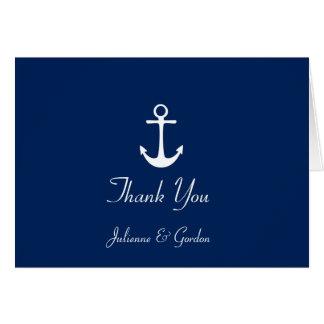 Nautical Theme Navy Blue White Stripes Thank You Note Card
