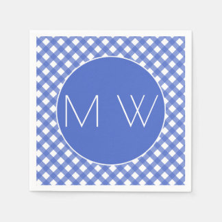 Nautical Theme - Navy Plaid Monogram Paper Napkins