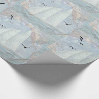 Nautical Theme with Sailboat and Old World Map Wrapping Paper