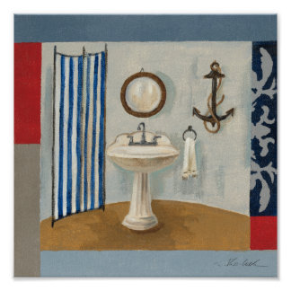 Nautical Themed Bathroom Poster