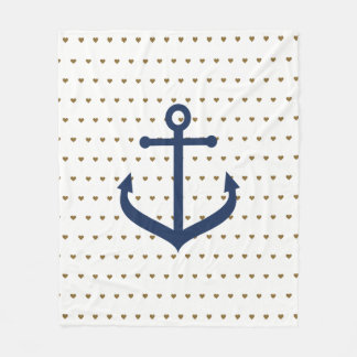 Nautical themed Blanket with hearts - Nursery