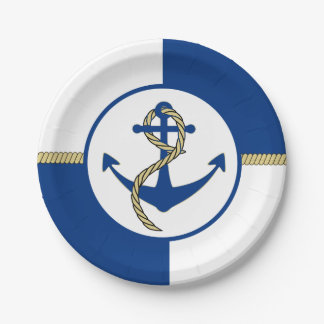 Nautical Themed Boat Anchor 7 Inch Paper Plate