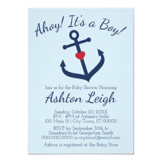 Nautical themed Boy Baby Shower Invitation - BLUE