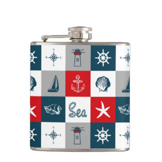 Nautical themed design flasks