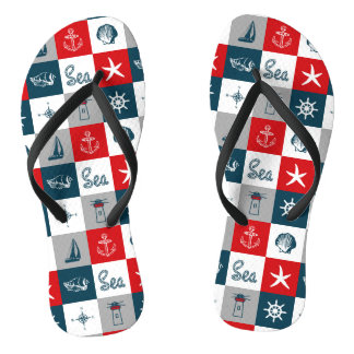 Nautical themed design flip flops