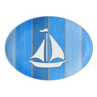 Nautical themed design porcelain serving platter