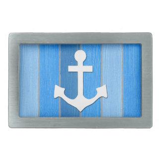 Nautical themed design rectangular belt buckle