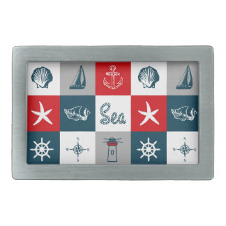 Nautical themed design rectangular belt buckles