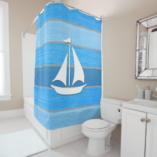 Nautical themed design shower curtain