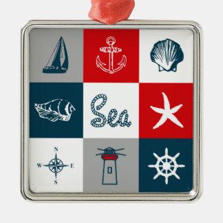 Nautical themed design Silver-Colored square decoration