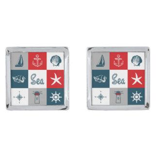 Nautical themed design silver finish cuff links