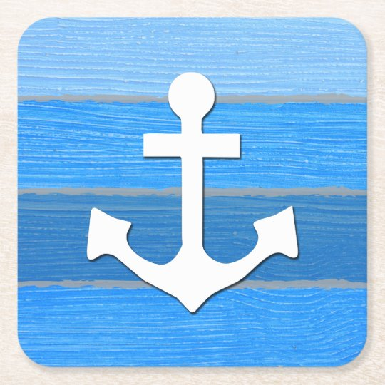 Nautical themed design square paper coaster