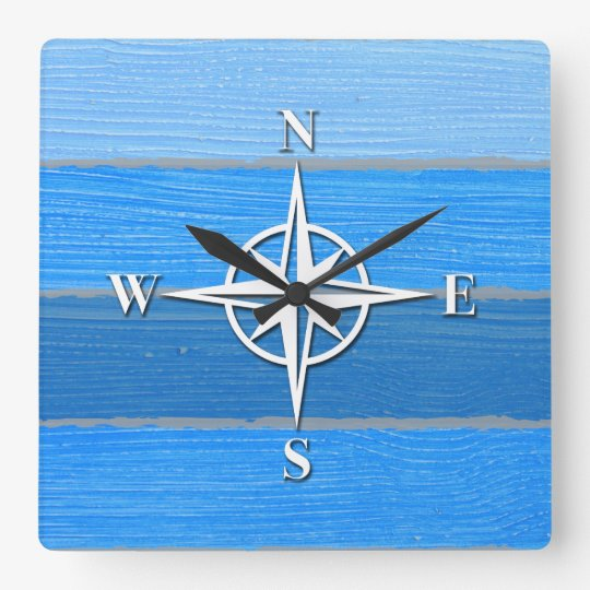 Nautical themed design square wall clock
