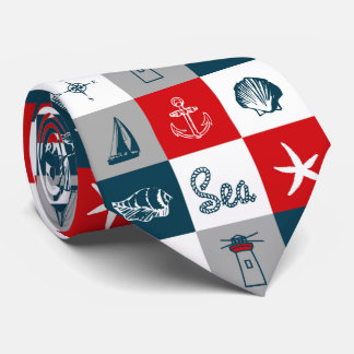 Nautical themed design tie