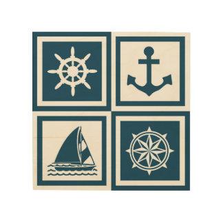 Nautical themed design wood wall art