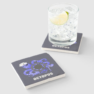 Nautical Themed Funny Octopus Sailor Cute Whimsy Stone Coaster