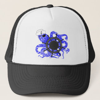 Nautical Themed Funny Octopus Sailor Cute Whimsy Trucker Hat