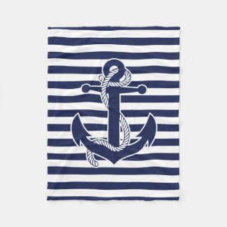 Nautical Themed Gifts Fleece Blanket With Anchor