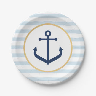 Nautical themed Paper Plates - Blue Anchor
