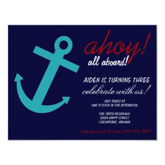 "Nautical Themed Party Invitation 4.25"" X 5.5"" Invitation Card"