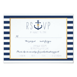 Nautical themed RSVP Card - Wedding Response Card