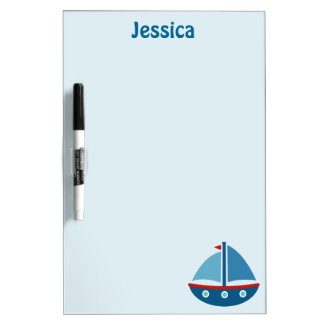 Nautical toy boat dry erase board for kids