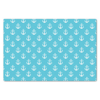 Nautical Turquoise and White Anchor Pattern Tissue Paper