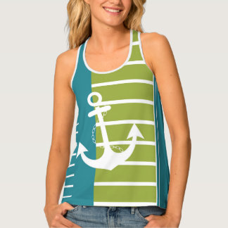 Nautical Turquoise Green Stripe with Anchor Tank Top