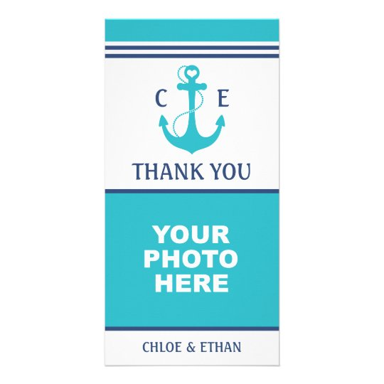 Nautical Turquoise Heart Anchor Photo Thank You Card