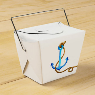 Nautical Turquoise Ship Anchor Wedding Party Favour Box