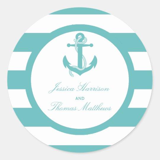 Nautical Turquoise Stripe Anchor Wedding Classic Round Sticker