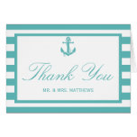 Nautical Turquoise Stripe Anchor Wedding Note Card