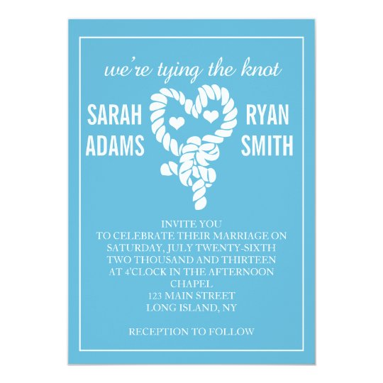 Nautical Tying the Knot Blue Wedding Invitations