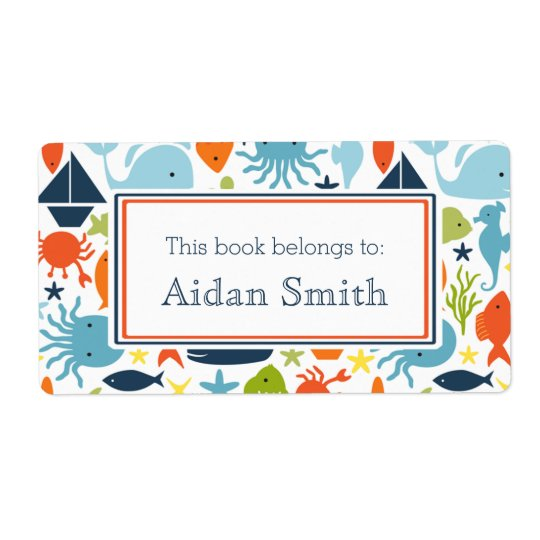 Nautical, Under the Sea Personalised Book Shipping Label