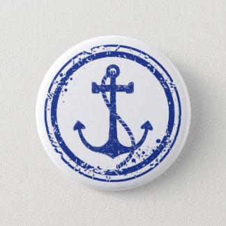 Nautical Vintage Blue Anchor Button