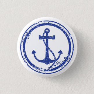 "Nautical Vintage Blue Anchor Button - 1.5"" Round"