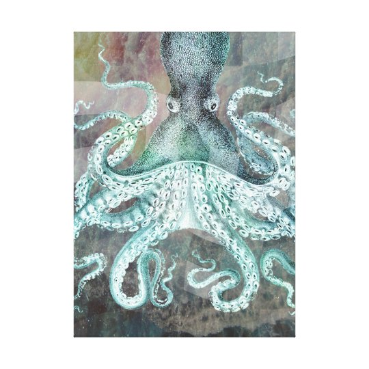 Nautical Vintage Octopus Canvas Print