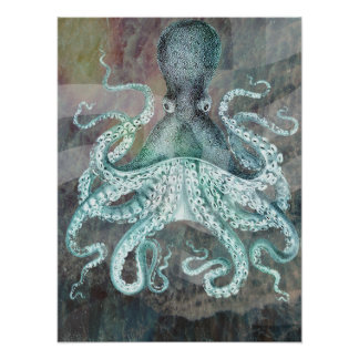 Nautical Vintage Octopus Poster