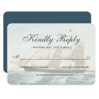 Nautical Vintage Sailing Ship Classic RSVP Card
